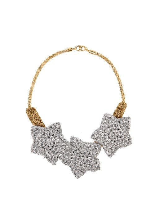 Starry Eyed Crochet Necklace - secondary colour: silver; predominant colour: gold; occasions: evening, occasion; style: choker/collar/torque; length: short; size: large/oversized; material: chain/metal; finish: metallic; embellishment: crystals/glass; season: a/w 2016; wardrobe: event