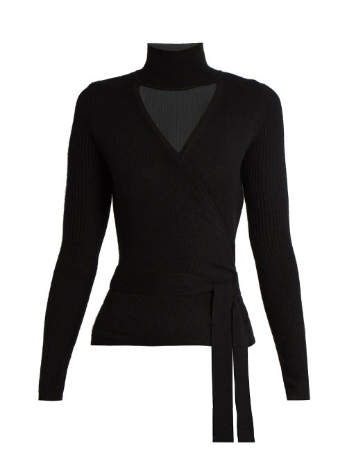 Ballerina Wrap Cardigan - pattern: plain; style: belted; neckline: roll neck; predominant colour: black; occasions: casual, work, creative work; length: standard; fibres: wool - mix; fit: standard fit; waist detail: belted waist/tie at waist/drawstring; sleeve length: long sleeve; sleeve style: standard; texture group: knits/crochet; pattern type: knitted - fine stitch; wardrobe: basic; season: a/w 2016