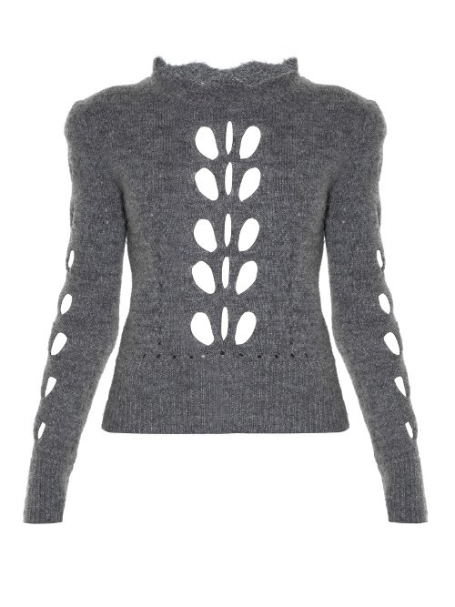 Ilia Open Knit Sweater - neckline: high neck; style: standard; secondary colour: white; predominant colour: mid grey; occasions: casual, creative work; length: standard; fibres: wool - mix; fit: slim fit; sleeve length: long sleeve; sleeve style: standard; texture group: knits/crochet; pattern type: knitted - fine stitch; pattern size: standard; pattern: patterned/print; season: a/w 2016; wardrobe: highlight