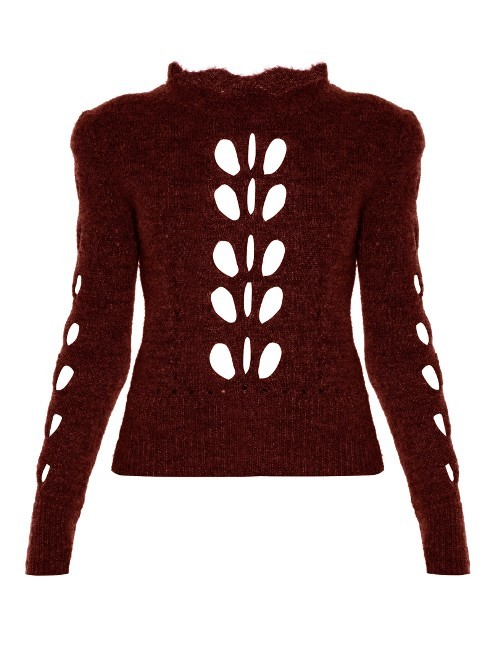 Ilia Open Knit Sweater - neckline: high neck; style: standard; secondary colour: white; predominant colour: burgundy; occasions: casual, creative work; length: standard; fibres: wool - mix; fit: standard fit; sleeve length: long sleeve; sleeve style: standard; texture group: knits/crochet; pattern type: knitted - fine stitch; pattern size: standard; pattern: patterned/print; season: a/w 2016; wardrobe: highlight