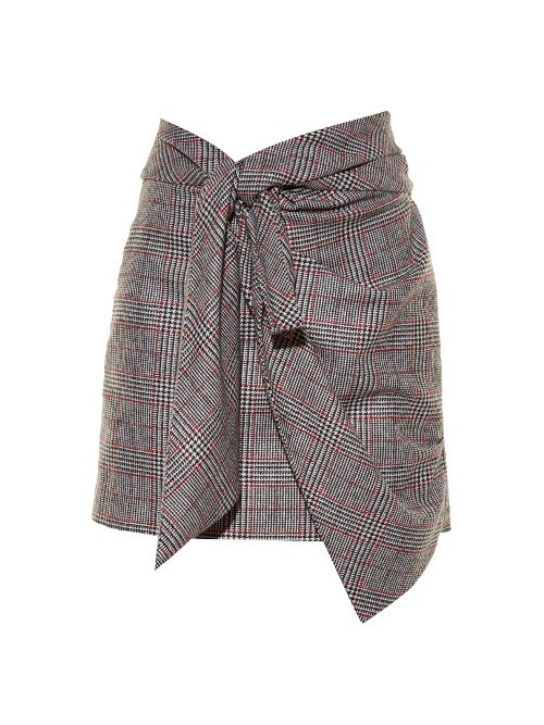 Kim Knot Front Prince Of Wales Checked Skirt - length: mini; pattern: checked/gingham; fit: body skimming; waist detail: belted waist/tie at waist/drawstring; waist: mid/regular rise; secondary colour: white; predominant colour: light grey; occasions: casual; style: mini skirt; fibres: cotton - 100%; pattern type: fabric; texture group: woven light midweight; multicoloured: multicoloured; season: a/w 2016; wardrobe: highlight