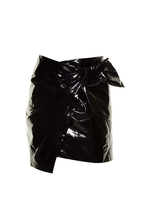 Anders Faux Patent Leather Mini Skirt - length: mini; pattern: plain; fit: body skimming; waist detail: belted waist/tie at waist/drawstring; waist: mid/regular rise; predominant colour: black; occasions: evening; style: mini skirt; fibres: leather - 100%; texture group: rubber/latex; pattern type: fabric; season: a/w 2016; wardrobe: event