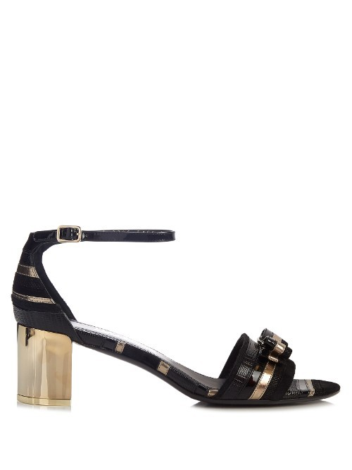 Gavina Leather Sandals - secondary colour: gold; predominant colour: black; occasions: casual, holiday; material: leather; heel height: high; ankle detail: ankle strap; heel: block; toe: open toe/peeptoe; style: standard; finish: metallic; pattern: plain; season: a/w 2016