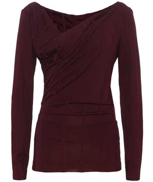 Striped Long Sleeve Priestess Top - neckline: low v-neck; pattern: plain; style: wrap/faux wrap; waist detail: flattering waist detail; bust detail: subtle bust detail; predominant colour: burgundy; occasions: evening, creative work; length: standard; fibres: viscose/rayon - stretch; fit: body skimming; sleeve length: long sleeve; sleeve style: standard; texture group: crepes; pattern type: fabric; season: a/w 2016; wardrobe: highlight
