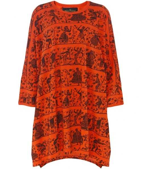 Tribal Elephant T Shirt - length: below the bottom; style: t-shirt; predominant colour: bright orange; secondary colour: black; occasions: casual; fibres: cotton - 100%; fit: loose; neckline: crew; sleeve length: 3/4 length; sleeve style: standard; pattern type: fabric; pattern: patterned/print; texture group: jersey - stretchy/drapey; multicoloured: multicoloured; season: a/w 2016; wardrobe: highlight