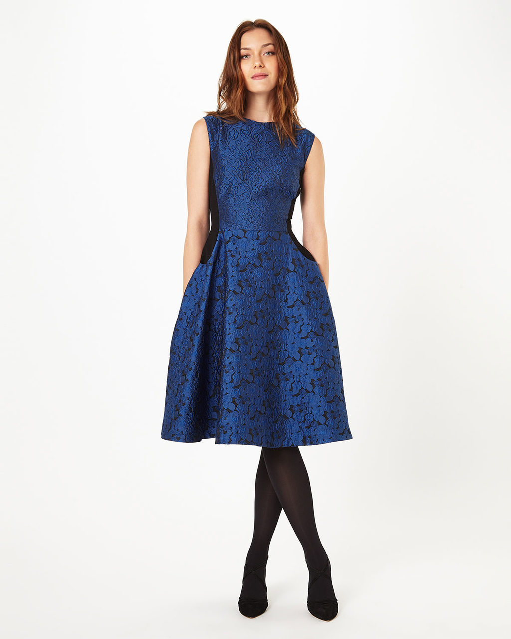 Adalyn Dress - sleeve style: sleeveless; style: full skirt; predominant colour: royal blue; secondary colour: black; occasions: evening; length: on the knee; fit: fitted at waist & bust; fibres: polyester/polyamide - 100%; neckline: crew; sleeve length: sleeveless; texture group: lace; pattern type: fabric; pattern size: standard; pattern: patterned/print; season: a/w 2016; wardrobe: event