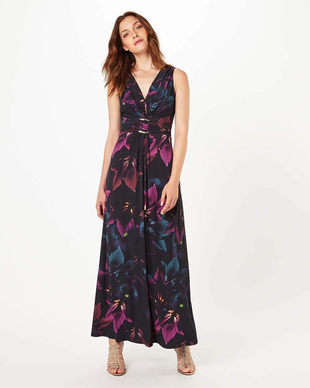 Monica Printed Maxi Dress - neckline: low v-neck; fit: fitted at waist; sleeve style: sleeveless; style: maxi dress; length: ankle length; secondary colour: hot pink; predominant colour: black; occasions: evening; fibres: polyester/polyamide - stretch; sleeve length: sleeveless; texture group: sheer fabrics/chiffon/organza etc.; pattern type: fabric; pattern: patterned/print; multicoloured: multicoloured; season: a/w 2016; wardrobe: event