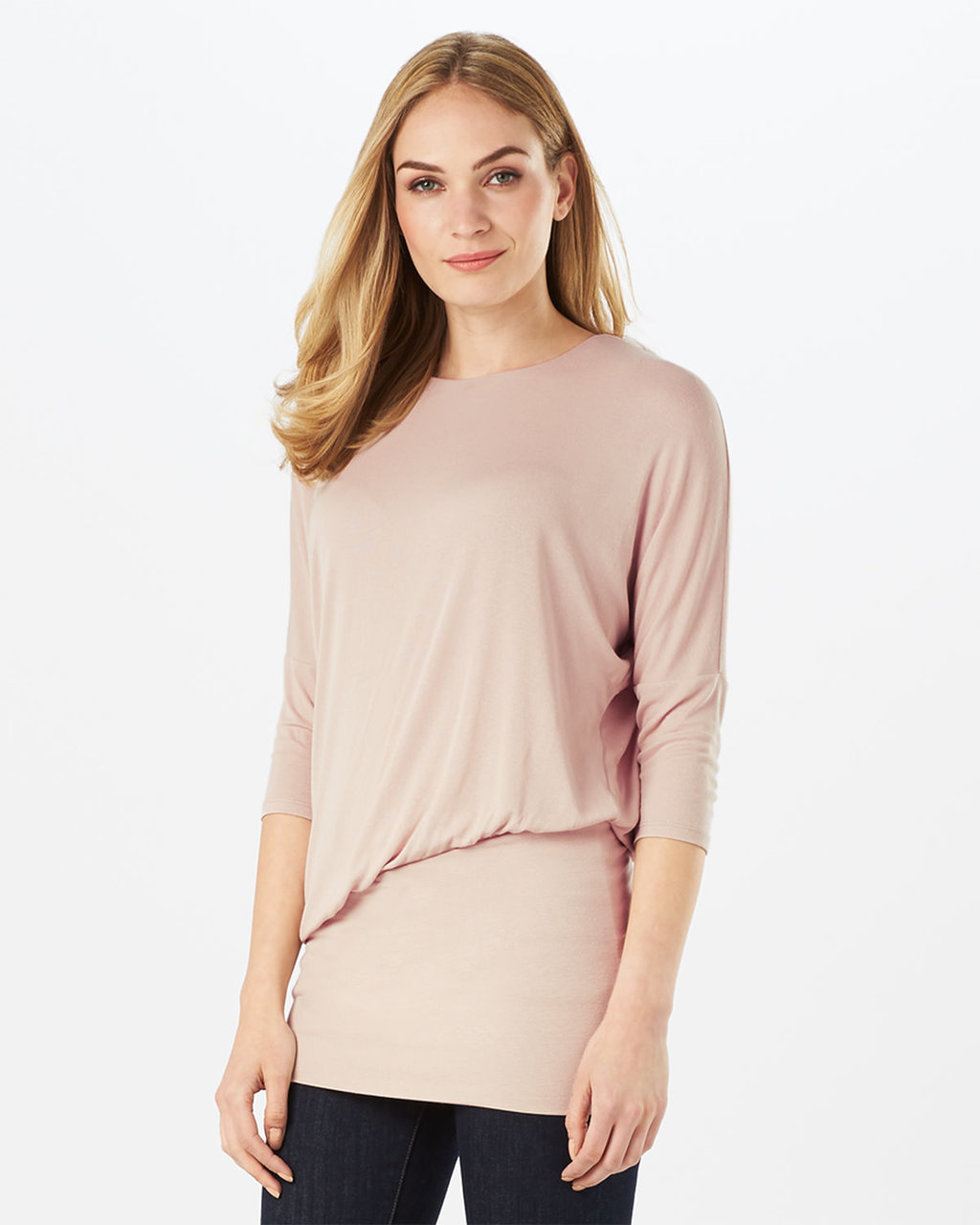 Adeline Asymmetric Blouson Top - pattern: plain; bust detail: ruching/gathering/draping/layers/pintuck pleats at bust; predominant colour: blush; occasions: casual; length: standard; style: top; fibres: viscose/rayon - stretch; fit: body skimming; neckline: crew; sleeve length: 3/4 length; sleeve style: standard; pattern type: fabric; texture group: jersey - stretchy/drapey; wardrobe: basic; season: a/w 2016