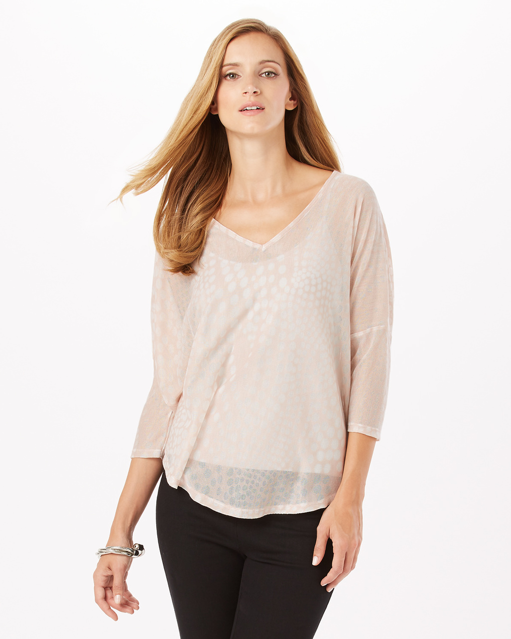 Spot Burnout Top - neckline: v-neck; pattern: plain; predominant colour: blush; occasions: casual; length: standard; style: top; fibres: polyester/polyamide - 100%; fit: body skimming; sleeve length: 3/4 length; sleeve style: standard; texture group: sheer fabrics/chiffon/organza etc.; pattern type: fabric; wardrobe: basic; season: a/w 2016