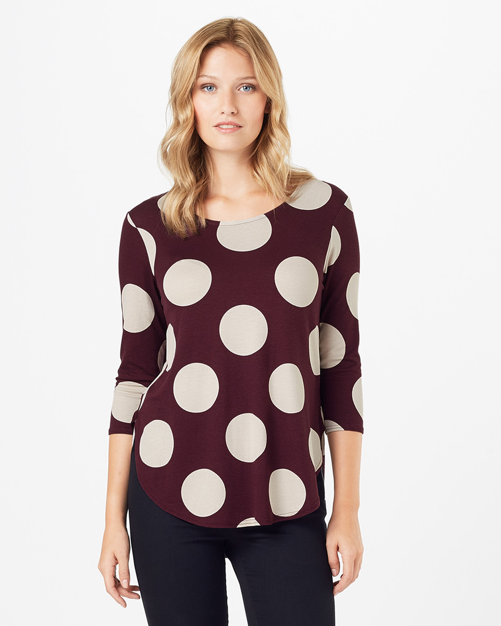 Anna Spot Top - neckline: round neck; style: t-shirt; pattern: polka dot; secondary colour: ivory/cream; predominant colour: burgundy; occasions: casual, creative work; length: standard; fibres: cotton - 100%; fit: body skimming; sleeve length: 3/4 length; sleeve style: standard; pattern type: fabric; pattern size: standard; texture group: jersey - stretchy/drapey; season: a/w 2016; wardrobe: highlight