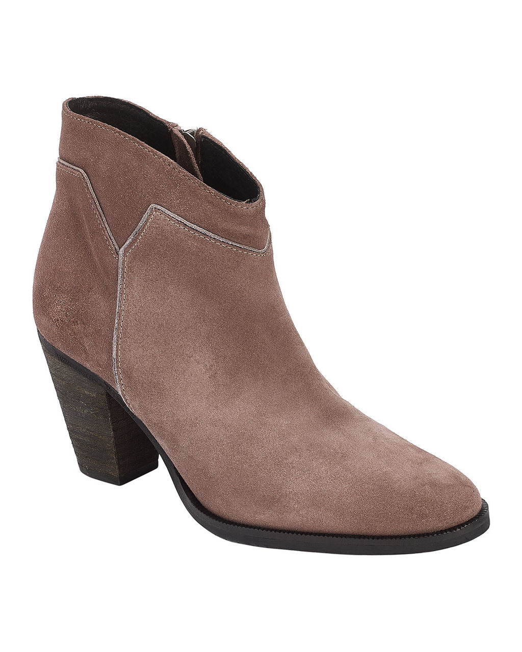 Amber Suede Boot - predominant colour: taupe; occasions: casual, creative work; material: suede; heel height: mid; heel: cone; toe: round toe; boot length: ankle boot; style: cowboy; finish: plain; pattern: plain; wardrobe: basic; season: a/w 2016