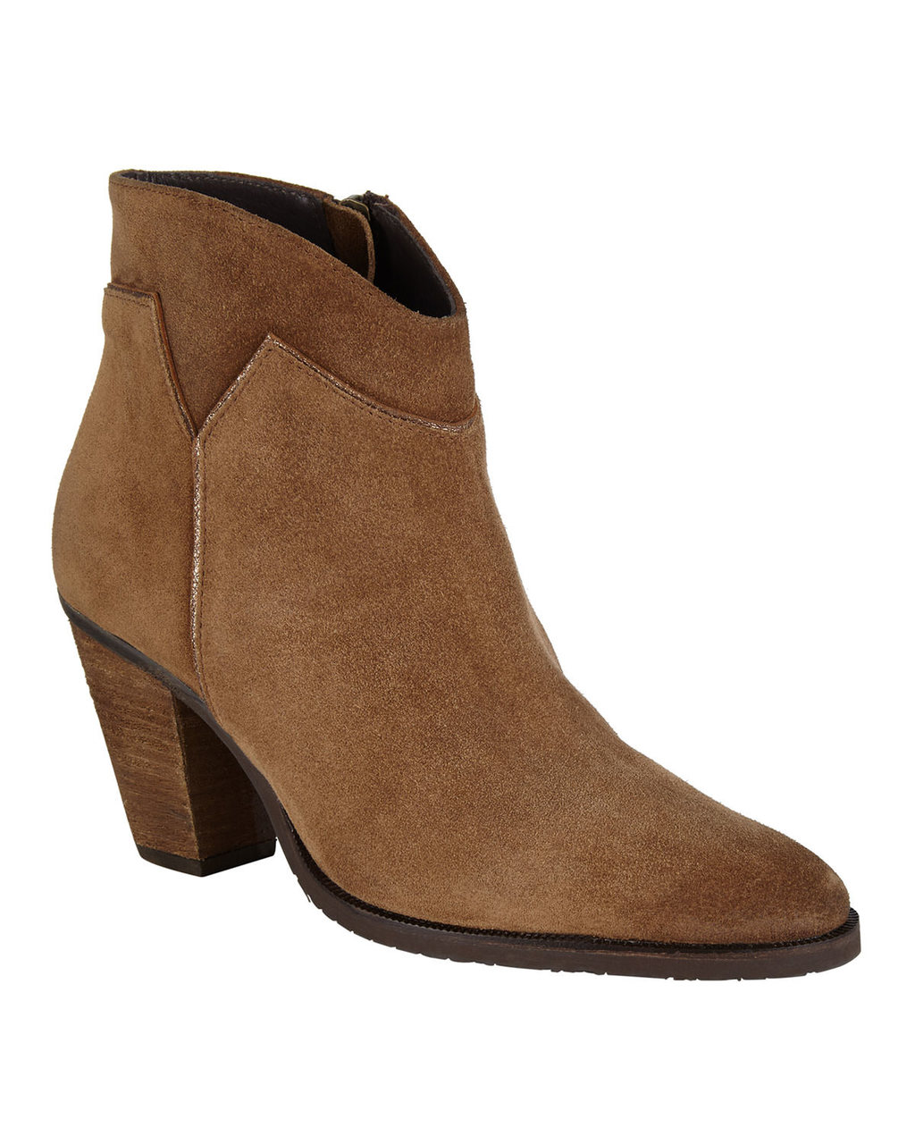 Amber Suede Boot - predominant colour: tan; occasions: casual, creative work; material: suede; heel height: mid; heel: cone; toe: round toe; boot length: ankle boot; style: standard; finish: plain; pattern: plain; season: a/w 2016; wardrobe: highlight