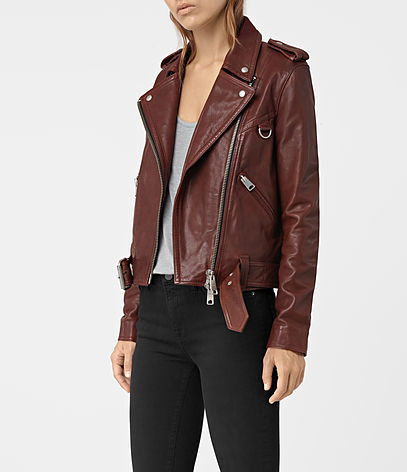 Gidley Leather Biker Jacket - pattern: plain; style: biker; collar: asymmetric biker; fit: slim fit; predominant colour: burgundy; secondary colour: silver; occasions: casual, creative work; length: standard; fibres: leather - 100%; sleeve length: long sleeve; sleeve style: standard; texture group: leather; collar break: medium; pattern type: fabric; season: a/w 2016