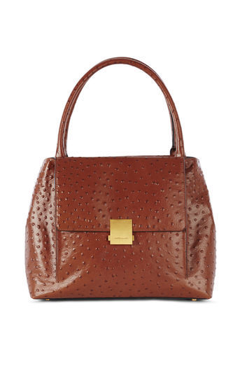Ostrich Embossed Bag - predominant colour: tan; occasions: casual, work, creative work; type of pattern: standard; style: tote; length: handle; size: oversized; material: leather; pattern: plain; finish: plain; season: a/w 2016; wardrobe: highlight