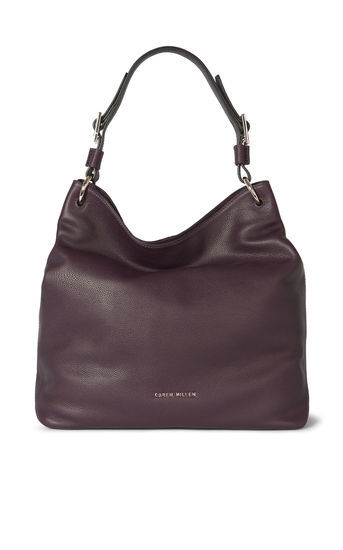 Slouch Bag - predominant colour: aubergine; occasions: casual, creative work; type of pattern: standard; style: shoulder; length: shoulder (tucks under arm); size: standard; material: leather; pattern: plain; finish: plain; season: a/w 2016; wardrobe: highlight