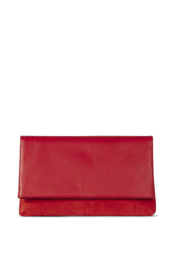 Leather And Suede Brompton - predominant colour: true red; occasions: evening, occasion; type of pattern: standard; style: clutch; length: hand carry; size: standard; material: leather; pattern: plain; finish: plain; season: a/w 2016; wardrobe: event