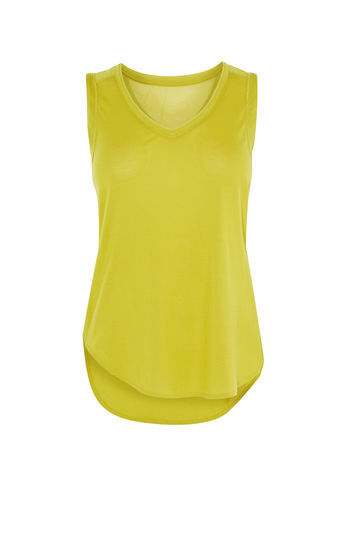 Back Vest - neckline: v-neck; pattern: plain; sleeve style: sleeveless; style: vest top; hip detail: draws attention to hips; predominant colour: lime; occasions: casual; length: standard; fibres: viscose/rayon - 100%; fit: body skimming; sleeve length: sleeveless; pattern type: fabric; texture group: jersey - stretchy/drapey; season: a/w 2016; wardrobe: highlight