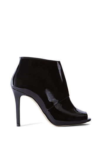 Patent Shoe Boots - predominant colour: black; occasions: evening, creative work; material: leather; heel: stiletto; toe: open toe/peeptoe; boot length: ankle boot; style: standard; finish: patent; pattern: plain; heel height: very high; season: a/w 2016; wardrobe: highlight