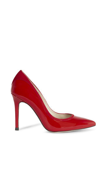 Patent And Suede Court - predominant colour: true red; occasions: evening, occasion, creative work; material: leather; heel: stiletto; toe: pointed toe; style: courts; finish: patent; pattern: plain; heel height: very high; season: a/w 2016; wardrobe: highlight