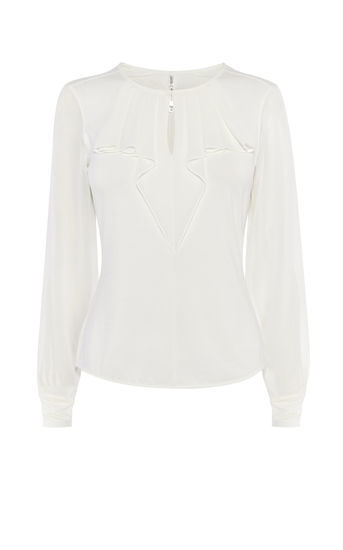 Genteel Frill Blouse - pattern: plain; style: blouse; predominant colour: white; occasions: work, occasion; length: standard; neckline: peep hole neckline; fibres: polyester/polyamide - 100%; fit: tailored/fitted; sleeve length: long sleeve; sleeve style: standard; texture group: structured shiny - satin/tafetta/silk etc.; bust detail: bulky details at bust; pattern type: fabric; season: a/w 2016; wardrobe: highlight