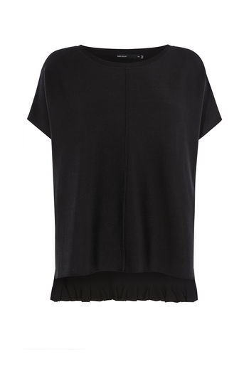 Frill Back Knit - pattern: plain; predominant colour: black; occasions: casual; length: standard; style: top; fit: body skimming; neckline: crew; sleeve length: short sleeve; sleeve style: standard; texture group: knits/crochet; pattern type: fabric; fibres: viscose/rayon - mix; wardrobe: basic; season: a/w 2016