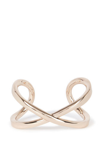 Criss Cross Bangle - predominant colour: gold; occasions: casual, creative work; style: cuff; size: large/oversized; material: chain/metal; finish: metallic; season: a/w 2016