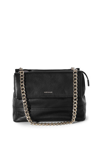 Santa Monica Bag - predominant colour: black; occasions: casual, work, creative work; type of pattern: standard; style: shoulder; length: shoulder (tucks under arm); size: standard; material: leather; pattern: plain; finish: plain; embellishment: chain/metal; wardrobe: investment; season: a/w 2016