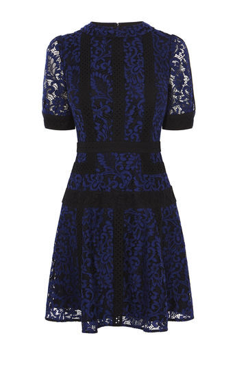 Lace Panel Dress - predominant colour: navy; occasions: evening; length: just above the knee; fit: fitted at waist & bust; style: fit & flare; fibres: polyester/polyamide - mix; neckline: crew; sleeve length: short sleeve; sleeve style: standard; texture group: lace; pattern type: fabric; pattern: patterned/print; shoulder detail: sheer at shoulder; season: a/w 2016; wardrobe: event