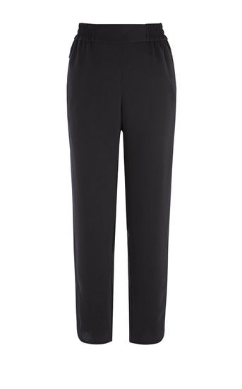 Wide Leg Trousers - length: standard; pattern: plain; waist: high rise; predominant colour: black; occasions: work; fibres: polyester/polyamide - 100%; fit: straight leg; pattern type: fabric; texture group: woven light midweight; style: standard; wardrobe: basic; season: a/w 2016