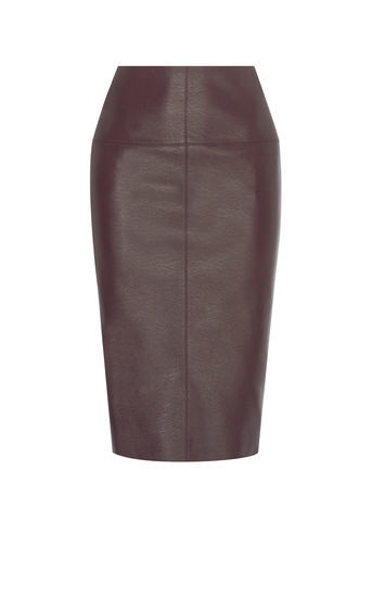 Faux Leather Pencil Skirt - pattern: plain; style: pencil; fit: tailored/fitted; waist: mid/regular rise; predominant colour: chocolate brown; occasions: evening; length: on the knee; fibres: polyester/polyamide - 100%; texture group: leather; pattern type: fabric; season: a/w 2016; wardrobe: event