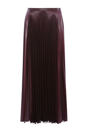 Wetlook Pleat Maxi Skirt - pattern: plain; length: ankle length; fit: body skimming; style: pleated; waist: mid/regular rise; predominant colour: aubergine; occasions: evening; fibres: polyester/polyamide - 100%; texture group: structured shiny - satin/tafetta/silk etc.; pattern type: fabric; season: a/w 2016; wardrobe: event