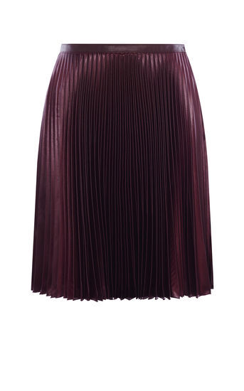 Wetlook Pleat Skirt - pattern: plain; fit: body skimming; style: pleated; waist: mid/regular rise; predominant colour: purple; occasions: evening; length: on the knee; fibres: polyester/polyamide - 100%; texture group: structured shiny - satin/tafetta/silk etc.; pattern type: fabric; season: a/w 2016