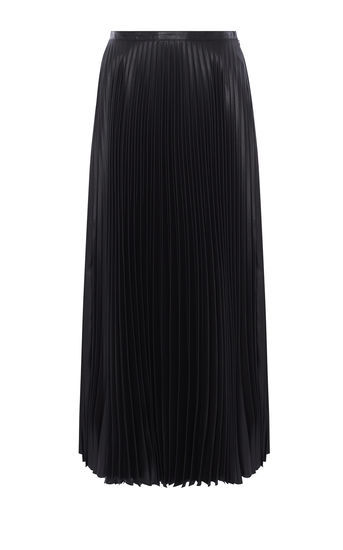 Wetlook Pleat Maxi Skirt - pattern: plain; length: ankle length; fit: body skimming; style: pleated; waist: mid/regular rise; predominant colour: black; occasions: evening; fibres: polyester/polyamide - 100%; texture group: structured shiny - satin/tafetta/silk etc.; pattern type: fabric; season: a/w 2016; wardrobe: event