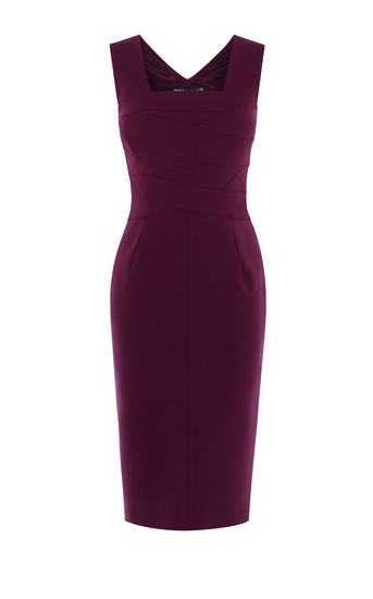 Square Neckline Pencil Dress - style: shift; length: below the knee; fit: tailored/fitted; pattern: plain; sleeve style: sleeveless; predominant colour: purple; occasions: evening; fibres: polyester/polyamide - stretch; sleeve length: sleeveless; neckline: medium square neck; pattern type: fabric; texture group: other - light to midweight; season: a/w 2016; wardrobe: event
