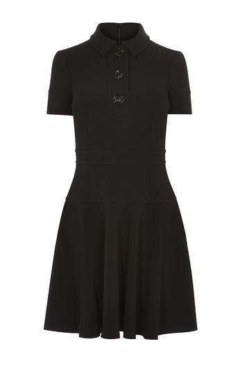 Polo Dress - neckline: shirt collar/peter pan/zip with opening; pattern: plain; hip detail: fitted at hip; predominant colour: black; occasions: evening; length: just above the knee; fit: fitted at waist & bust; style: fit & flare; fibres: polyester/polyamide - stretch; sleeve length: short sleeve; sleeve style: standard; pattern type: fabric; texture group: jersey - stretchy/drapey; season: a/w 2016