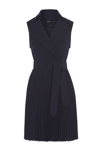 Pleated Trench Dress - style: faux wrap/wrap; neckline: shirt collar/peter pan/zip with opening; fit: tailored/fitted; pattern: plain; sleeve style: sleeveless; waist detail: belted waist/tie at waist/drawstring; predominant colour: navy; occasions: evening; length: just above the knee; fibres: polyester/polyamide - mix; sleeve length: sleeveless; pattern type: fabric; texture group: other - light to midweight; season: a/w 2016; wardrobe: event