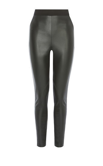 Faux Leather Legging - length: standard; pattern: plain; style: leggings; waist: high rise; predominant colour: black; occasions: casual, evening; fibres: leather - 100%; texture group: leather; fit: skinny/tight leg; pattern type: fabric; season: a/w 2016; wardrobe: highlight