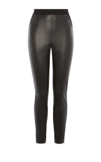 Faux Leather And Jersey Legging - length: standard; pattern: plain; waist: high rise; predominant colour: black; occasions: casual, evening, creative work; fibres: leather - 100%; texture group: leather; fit: skinny/tight leg; pattern type: fabric; style: standard; season: a/w 2016