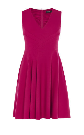 Fold Front Dress - neckline: v-neck; pattern: plain; sleeve style: sleeveless; predominant colour: hot pink; occasions: evening; length: just above the knee; fit: fitted at waist & bust; style: fit & flare; fibres: polyester/polyamide - 100%; sleeve length: sleeveless; pattern type: fabric; texture group: other - light to midweight; season: a/w 2016; wardrobe: event