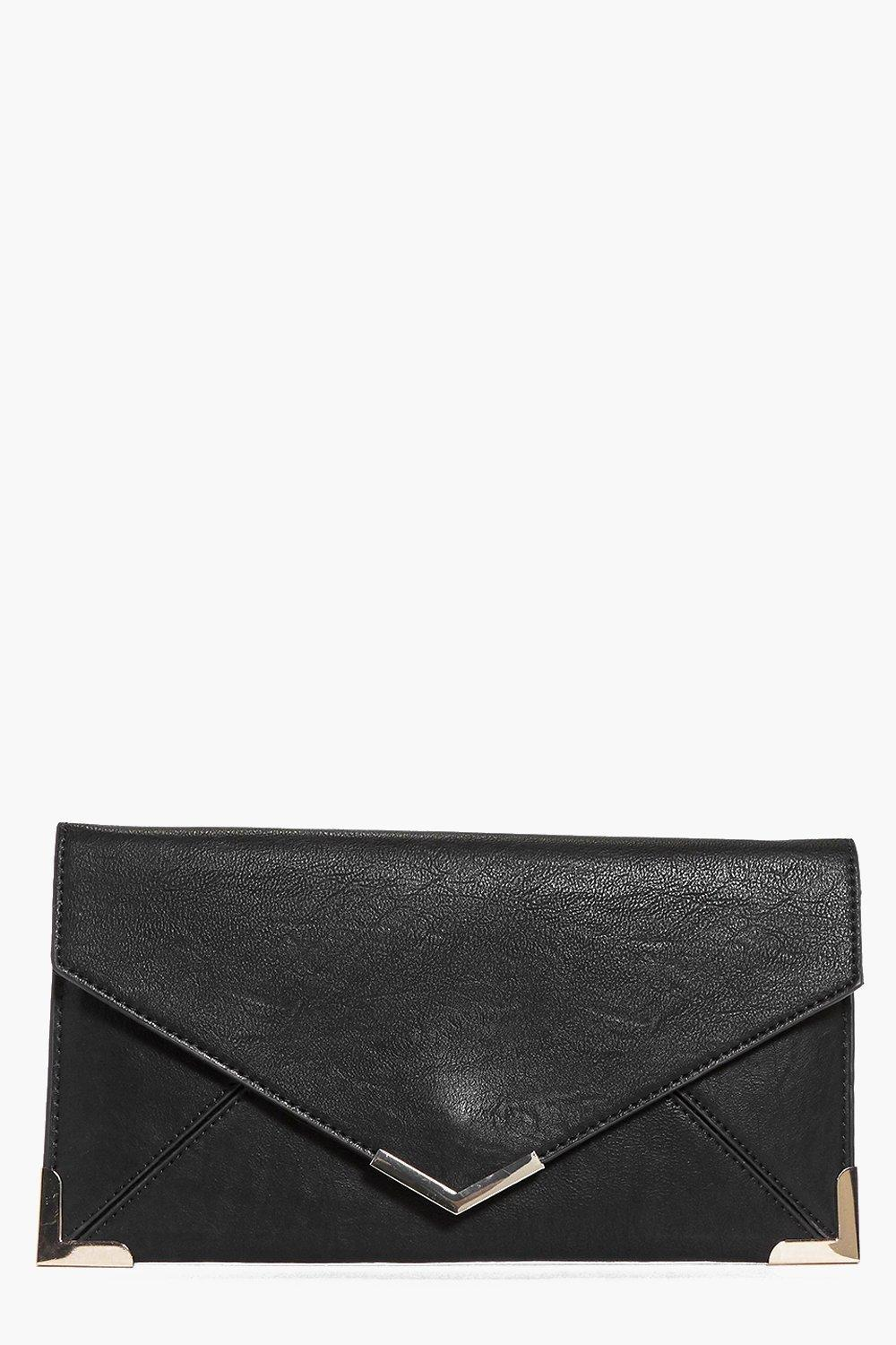Metal Trim Envelope Clutch Black - predominant colour: black; occasions: evening, occasion; type of pattern: standard; style: clutch; length: hand carry; size: oversized; material: faux leather; pattern: plain; finish: plain; season: a/w 2016