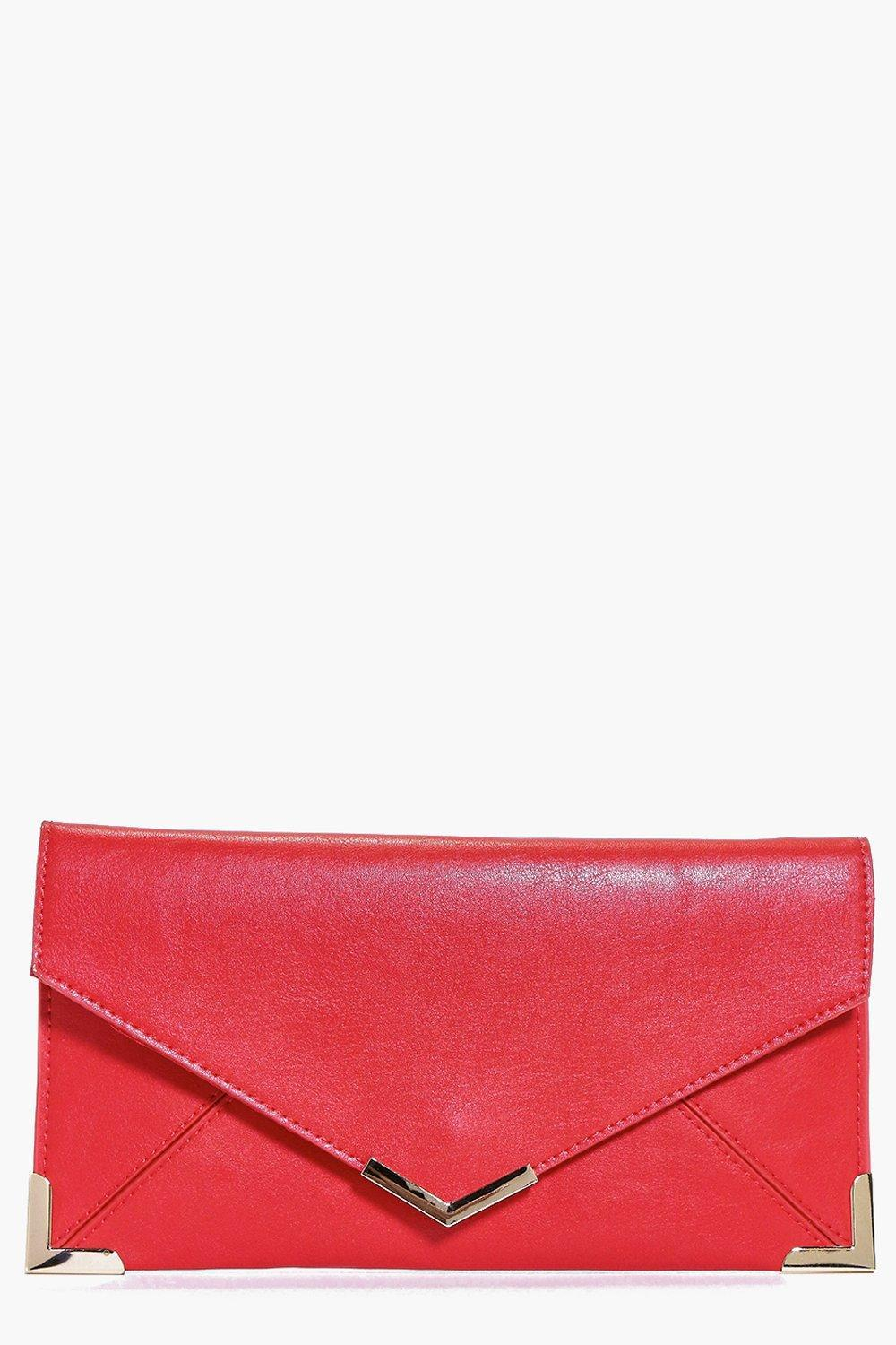 Metal Trim Envelope Clutch Red - predominant colour: true red; secondary colour: gold; occasions: evening, occasion; type of pattern: standard; style: clutch; length: hand carry; size: standard; material: faux leather; pattern: plain; finish: plain; season: a/w 2016; wardrobe: event