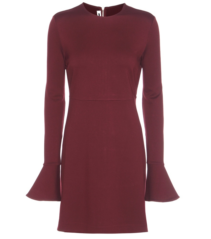 Stretch Dress - style: shift; length: mid thigh; neckline: round neck; pattern: plain; predominant colour: burgundy; occasions: evening; fit: body skimming; fibres: polyester/polyamide - 100%; sleeve length: long sleeve; sleeve style: standard; pattern type: fabric; texture group: other - light to midweight; season: a/w 2016