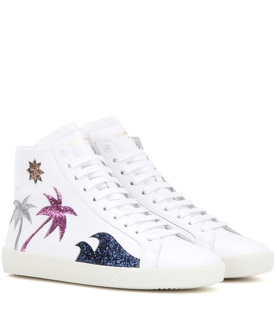 Court Classic Sl/06 Sea, Sex & Sun Embellished Leather Sneakers - predominant colour: white; occasions: casual; material: leather; heel height: flat; embellishment: glitter; toe: round toe; style: trainers; finish: plain; pattern: plain; season: a/w 2016