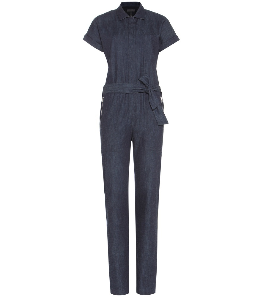 Tiggy Cotton Jumpsuit - length: standard; neckline: shirt collar/peter pan/zip with opening; pattern: plain; waist detail: belted waist/tie at waist/drawstring; predominant colour: navy; occasions: casual; fit: body skimming; fibres: cotton - 100%; sleeve length: short sleeve; sleeve style: standard; texture group: denim; style: jumpsuit; pattern type: fabric; season: a/w 2016; wardrobe: highlight