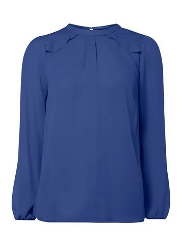 Womens Navy Frill Shoulder Blouse Navy - pattern: plain; style: blouse; predominant colour: royal blue; occasions: casual; length: standard; fibres: polyester/polyamide - 100%; fit: body skimming; neckline: crew; sleeve length: long sleeve; sleeve style: standard; texture group: sheer fabrics/chiffon/organza etc.; pattern type: fabric; season: a/w 2016; wardrobe: highlight