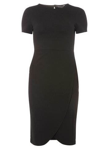 Womens Wrap Skirt Bodycon Dress Black - fit: tight; pattern: plain; style: bodycon; predominant colour: black; occasions: evening; length: just above the knee; fibres: polyester/polyamide - stretch; neckline: crew; sleeve length: short sleeve; sleeve style: standard; texture group: jersey - clingy; pattern type: fabric; season: a/w 2016; wardrobe: event
