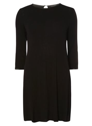Womens Black Trim Swing Dress Black - style: smock; length: mid thigh; fit: loose; pattern: plain; predominant colour: black; occasions: casual; fibres: polyester/polyamide - stretch; neckline: crew; sleeve length: 3/4 length; sleeve style: standard; pattern type: fabric; texture group: jersey - stretchy/drapey; wardrobe: basic; season: a/w 2016
