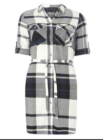 Womens Tie Waist Check Shirt Dress Blue - style: shirt; length: mid thigh; neckline: shirt collar/peter pan/zip with opening; pattern: checked/gingham; waist detail: belted waist/tie at waist/drawstring; secondary colour: white; predominant colour: light grey; occasions: casual; fit: body skimming; fibres: cotton - 100%; sleeve length: half sleeve; sleeve style: standard; trends: monochrome; texture group: cotton feel fabrics; pattern type: fabric; multicoloured: multicoloured; season: a/w 2016; wardrobe: highlight