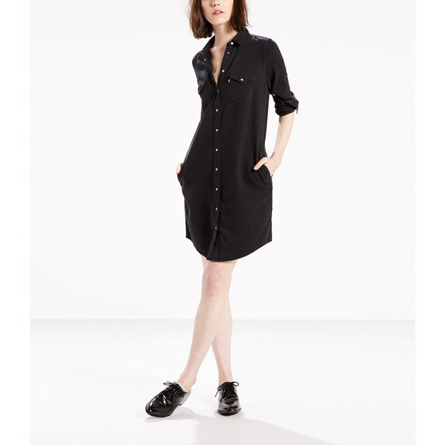 Shirt Dress - style: shirt; length: mid thigh; neckline: shirt collar/peter pan/zip with opening; pattern: plain; bust detail: subtle bust detail; predominant colour: black; occasions: casual, creative work; fit: straight cut; fibres: cotton - 100%; sleeve length: 3/4 length; sleeve style: standard; texture group: cotton feel fabrics; pattern type: fabric; wardrobe: basic; season: a/w 2016