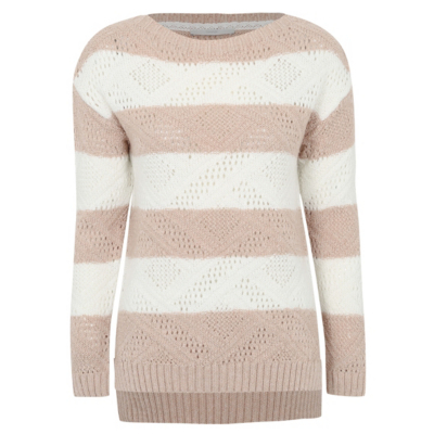 Striped Knitted Jumper White/Pink - pattern: horizontal stripes; style: standard; predominant colour: white; secondary colour: pink; occasions: casual; length: standard; fibres: acrylic - 100%; fit: slim fit; neckline: crew; sleeve length: long sleeve; sleeve style: standard; texture group: knits/crochet; pattern type: fabric; multicoloured: multicoloured; season: a/w 2016